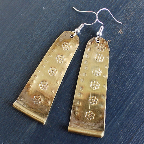 French Horn Flower Stamped Earrings
