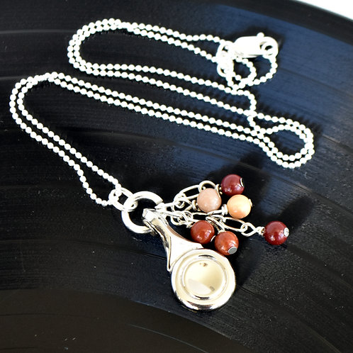 Flute Key Necklace with Cinnamon Bead Cascade