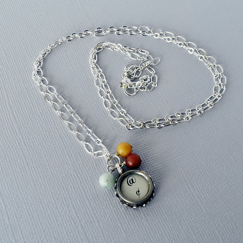 Long Antique Typewriter Key Necklace