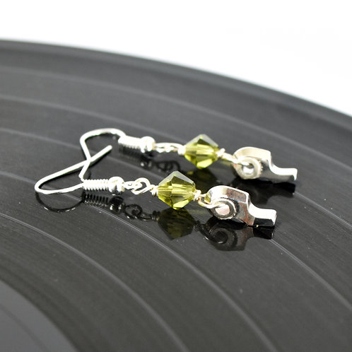 Oboe Earrings with Peridot Crystals