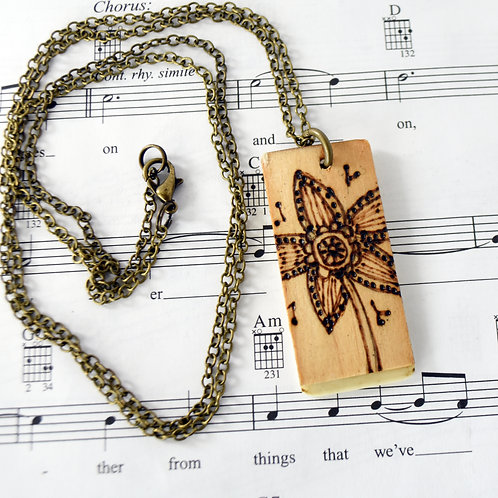 Floral Wood Burned Piano Key Necklace