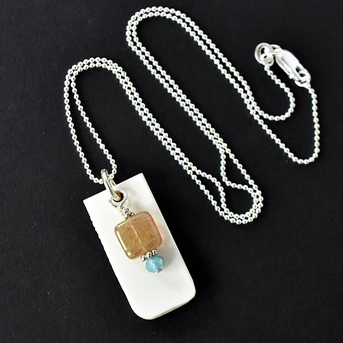 """White Piano """"D"""" Key Necklace with Bead Accent"""