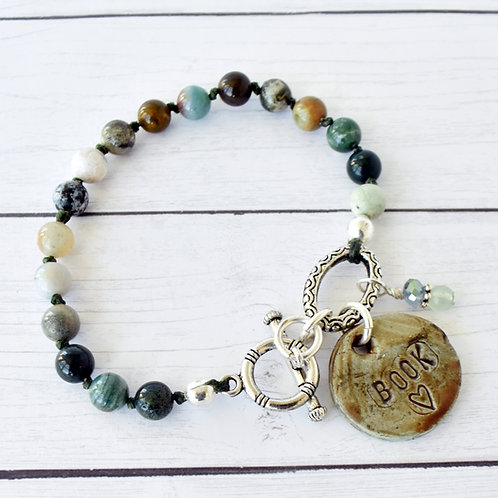 Book Lover Beaded Clay Bracelet