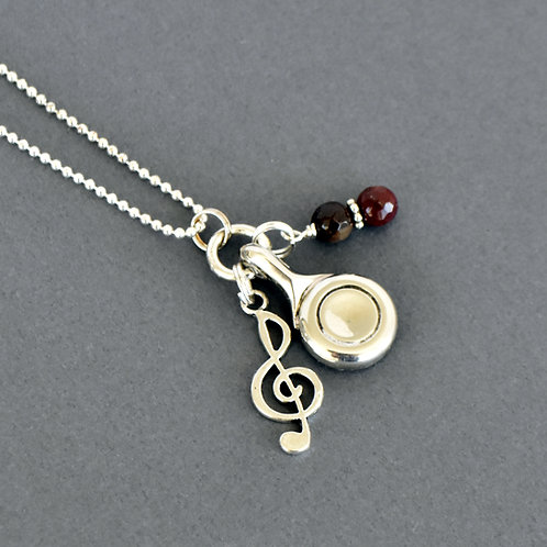 Flute Key Charm Necklace with Treble Clef and Wine Beads
