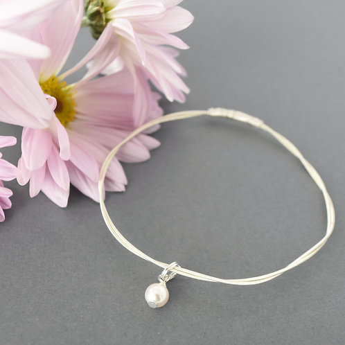 Violin/ Viola String Bangle with Pearl Accent