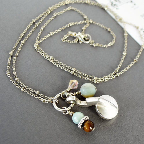 Oboe Key Long Necklace with Bead Accents
