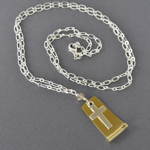 Long French Horn Bell & Cross Necklace