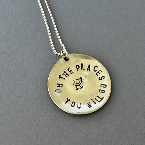 """Oh The Places You Will Go"" Hand-Stamped Spoon Bowl Necklace"