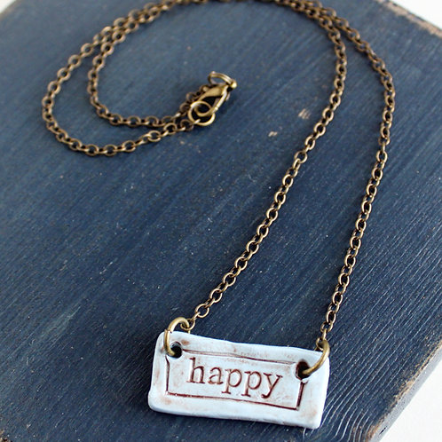 """Happy"" Polymer Clay Necklace"