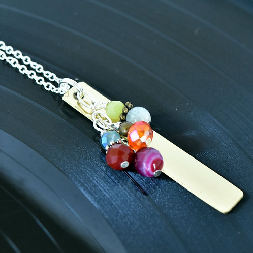 Saxophone Necklace with Colorful Bead Cascade
