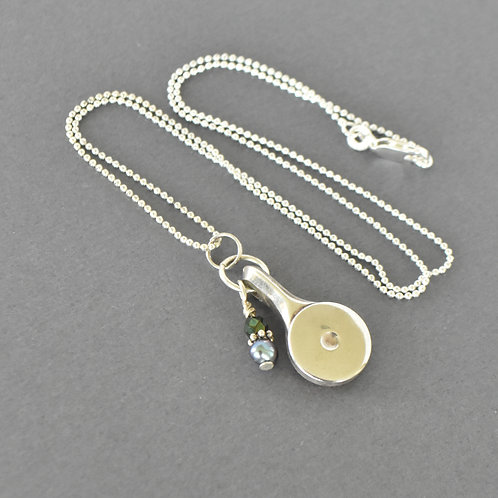Piccolo Key Necklace with Blue Bead Accent