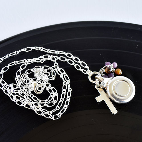 Long Flute Key Charm Necklace with Cross and Purple & Tiger Eye Bead Cascade