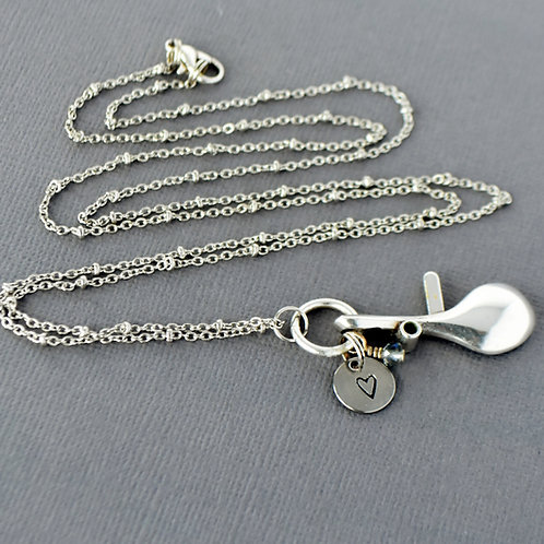 Long Oboe Key Charm Necklace