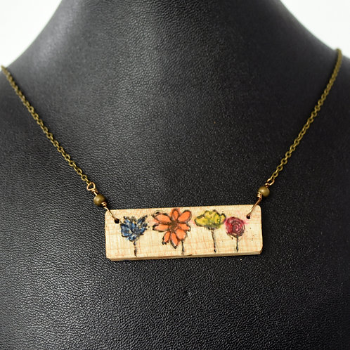 Violin Wood Field of Flowers Necklace