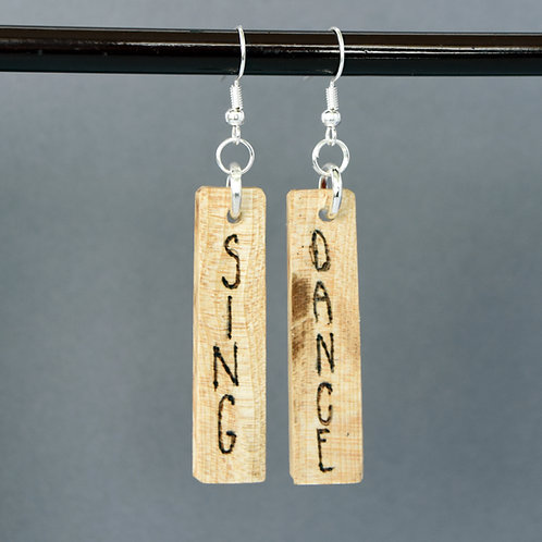 Sing & Dance Cello Wood Earrings