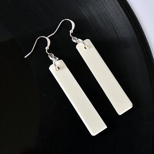 White Piano Key Earrings