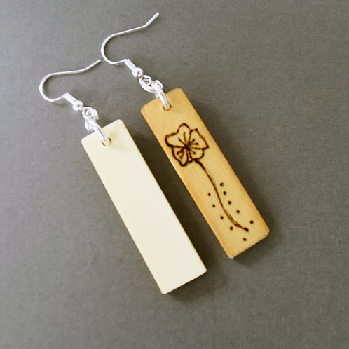 Piano Key Earrings with Wood Burned Flowers
