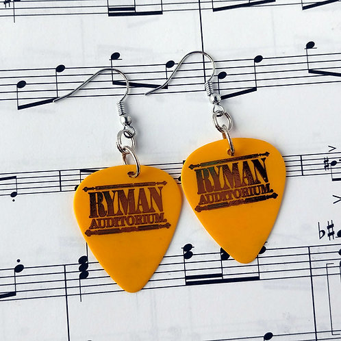 Ryman Auditorium Guitar Pick Earrings