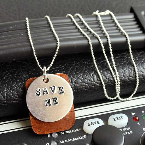 Dave Matthews - Save Me Guitar Wood Necklace