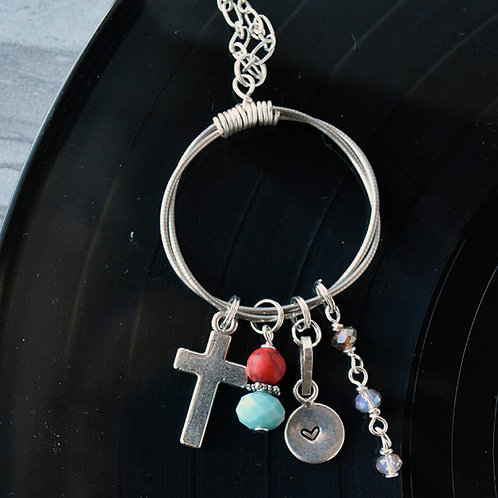 Double Bass String Charm Necklace