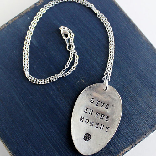 """Live in the Moment"" Spoon Necklace"