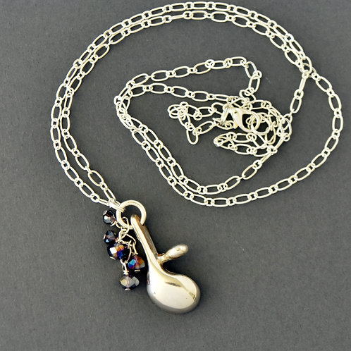 Long Oboe Key Necklace with Purple Bead Cascade