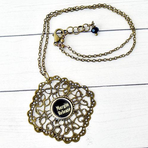 Margin Release Antique Typewriter Key Necklace