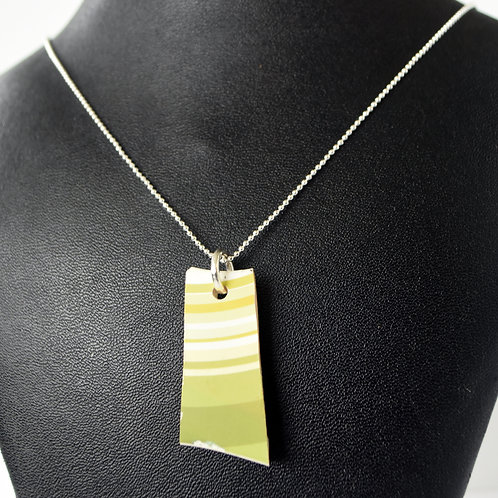 Green & White Ukulele Wood Necklace