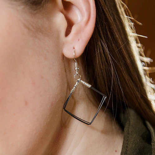 Square Piano Wire Earrings