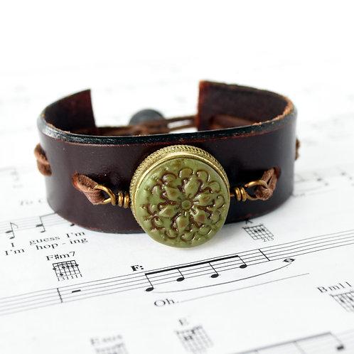 Trumpet Valve Cap Upcycled Belt Cuff Bracelet