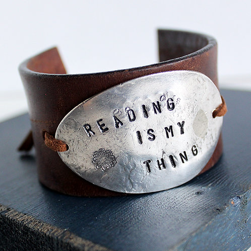 """Reading Is My Thing"" Stamped Spoon Bowl Cuff Bracelet"