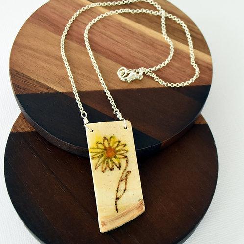 Ukulele Wood Sunflower Necklace