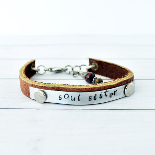 """Soul Sister"" Leather Bracelet"