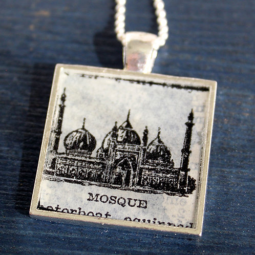Mosque Vintage Dictionary Page Necklace