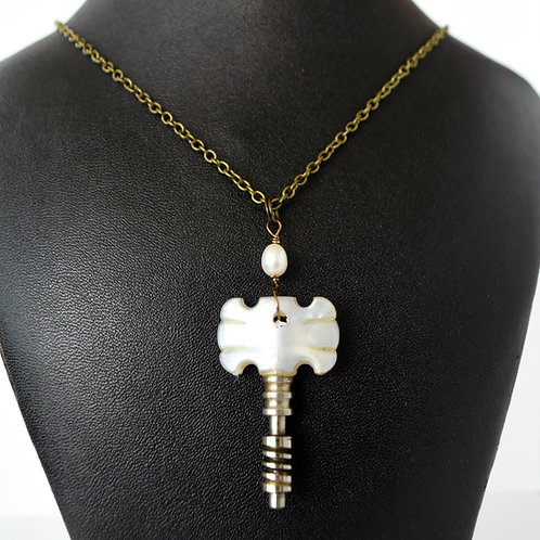 Guitar Tuning Peg Necklace with Pearl Accent Bead