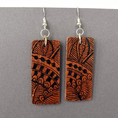 Inked Violin Wood Earrings By Kristi Jurgensen