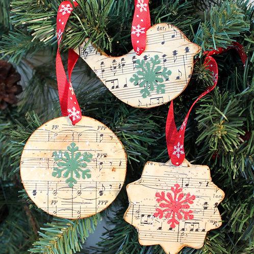 Vintage Sheet Music Holiday Ornaments