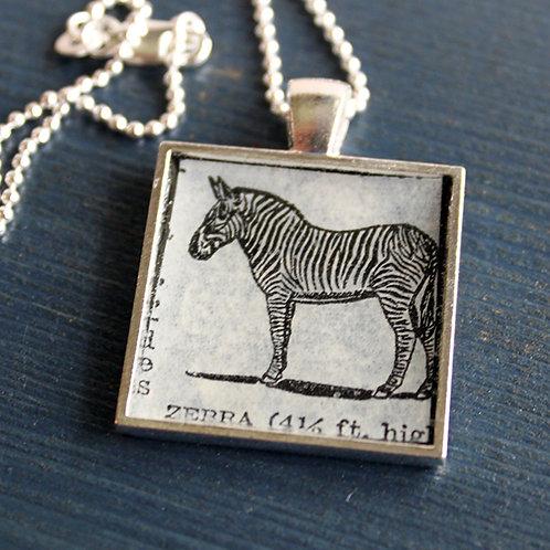 Zebra Vintage Dictionary Necklace