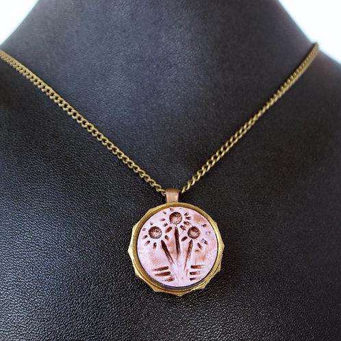Trumpet Valve Cap Necklace - Pink Flowers