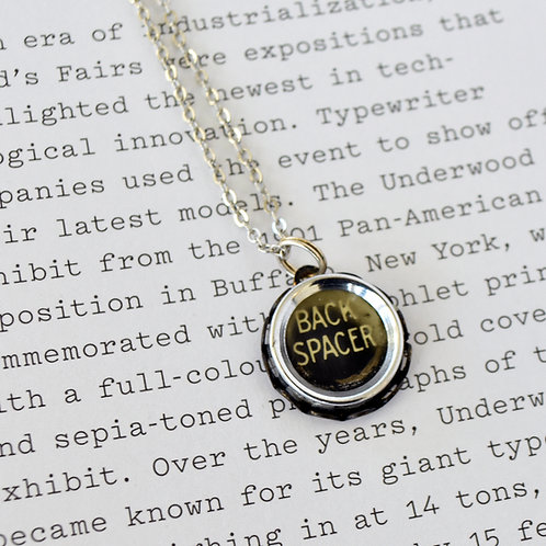 Back Spacer Antique Typewriter Key Necklace