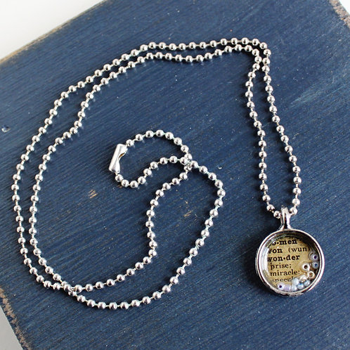 """Wonder"" Vintage Dictionary Necklace"