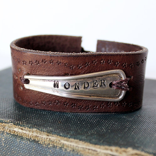 """Wonder"" Spoon Handle Leather Cuff Bracelet"
