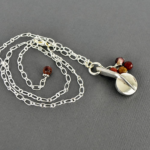 Oboe Key Necklace with Cinnamon Bead Cascade