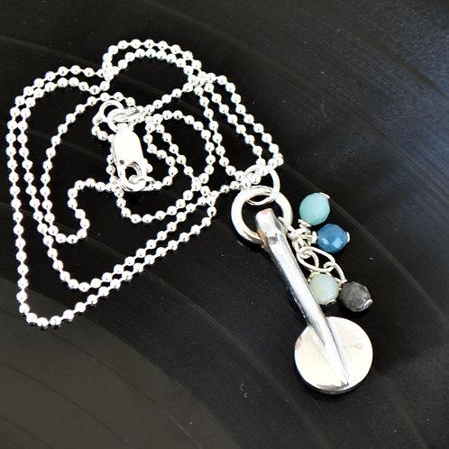 Oboe Key Necklace with Ocean Bead Cascade