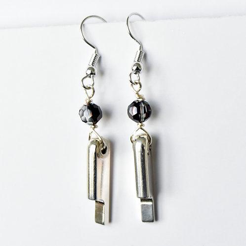 Bassoon Key Earrings with Chevron Amethyst Beads