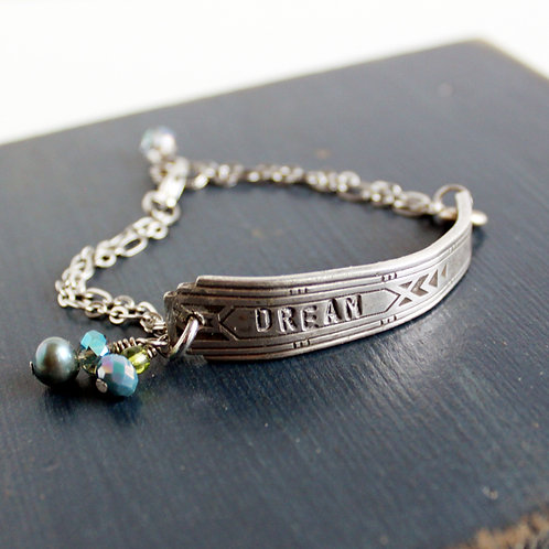 """""""Dream"""" Hand-stamped Spoon Necklace"""