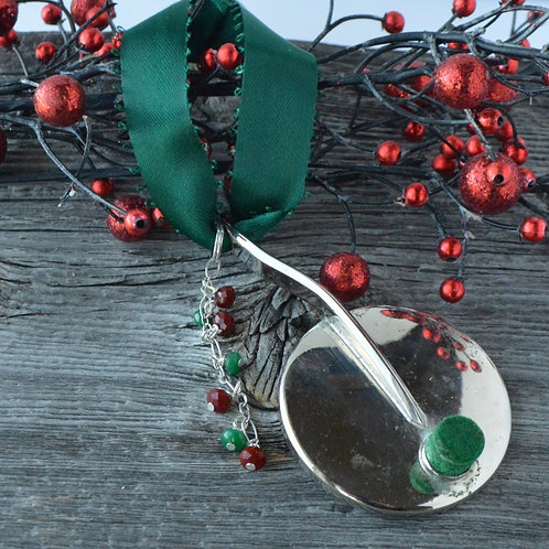 Saxophone Key Ornament with Bead Cascade
