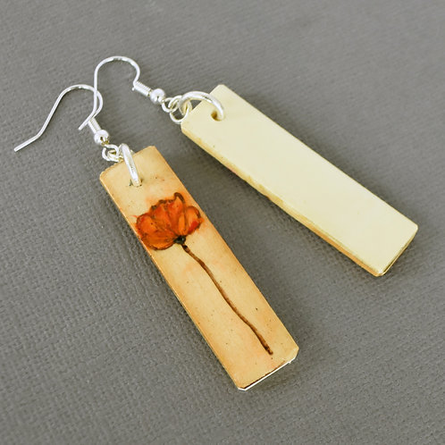 Kimball Consolette Piano Key Earrings Featuring Wood Burned Flowers