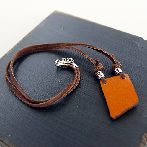 Violin Wood on Leather Necklace