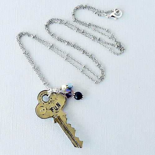 """""""Fun"""" Vintage Key Necklace"""